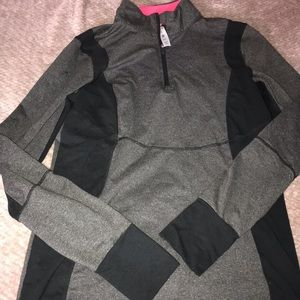 Grey workout sweater/ pink on the inside